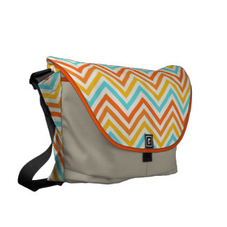 Messenger Bag: Orange, turquoise & yellow chevron