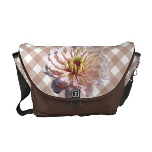 Messenger Bag - Palest Pink Zinnia on Lattice