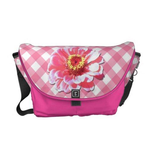 Messenger Bag - Pink Zinnia on Lattice