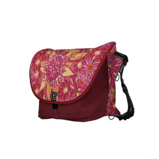 Messenger Bag Pretty Floral Pattern pink and red