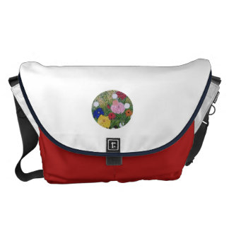 Messenger Bag Red White Blue with Floral Print