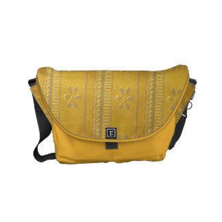 Messenger Bag  Silver Golden embossed Leather look