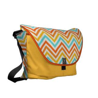 Messenger Bag: Turquoise, yellow & orange chevron