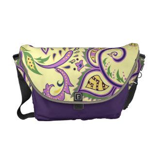 Messenger bag with floral decorative patterns