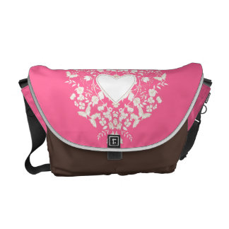 Messenger bag with floral  white heart