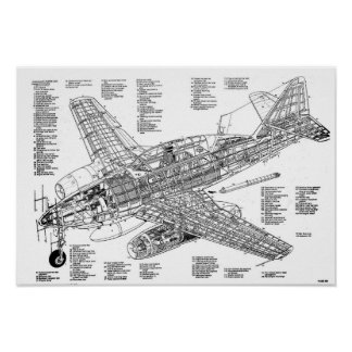 Messerschmitt jet to fighter to me-262 (Diagram) Poster