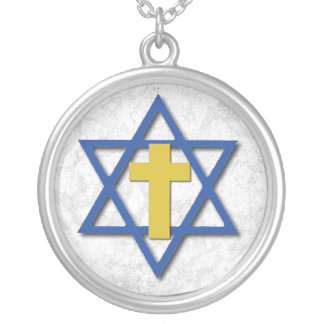Messianic Cross with Star of David Silver Plated Necklace