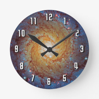 Messier 74 Spiral Galaxy Outer Space Photo Round Clock