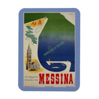 Messina port of Sicily vintage Italian travel ad Magnet
