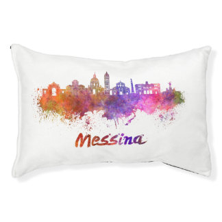 Messina skyline in watercolor pet bed