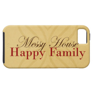 Messy House Happy Family In Tan and Red iPhone 5 Cases