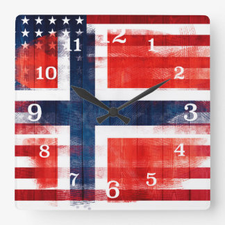 Messy Paint Strokes Norwegian American Flag Square Wall Clock