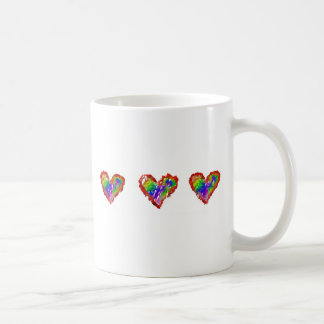 Messy Rainbow Hearts Abstract Ruffle Striped Basic White Mug