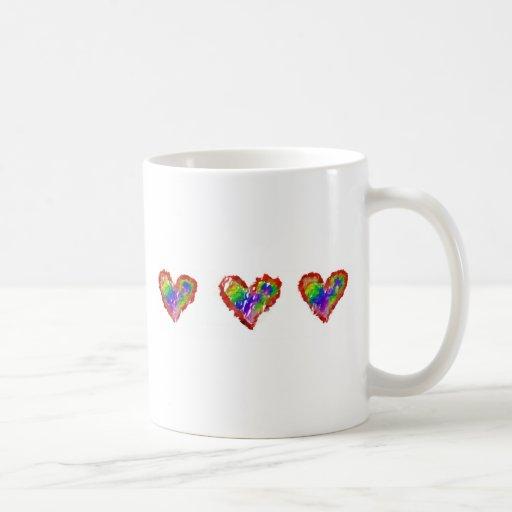 Messy Rainbow Hearts Abstract Ruffle Striped Mug