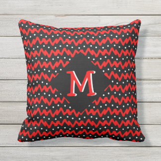 Messy Red Chevron Pattern with Dots and Monogram Cushion