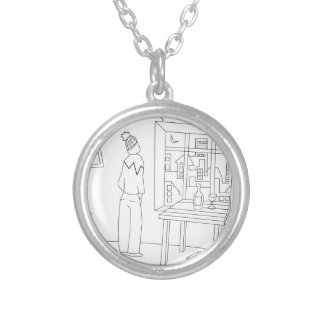 Messy room with a city view round pendant necklace