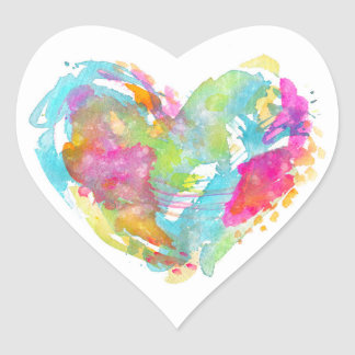 Messy Watercolor Heart Sticker - TURQUOISE