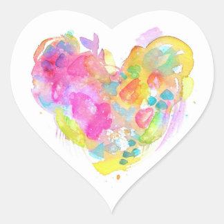 Messy Watercolor Heart Sticker - YELLOW