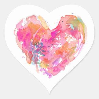 Messy Watercolor Heart Stocker - PINK Heart Sticker
