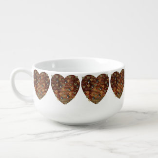 Metal and Black Mushroom Heart Soup Mug