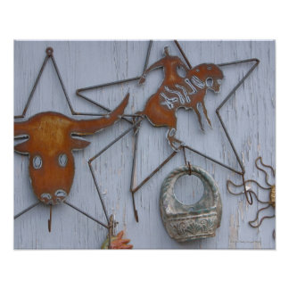 Metal art souvenirs on outdoor wall print