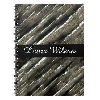 Metal blocks customisable black centre spiral notebook