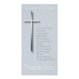 Metal Christian Cross Sympathy Thank You choose C Custom Photo Card