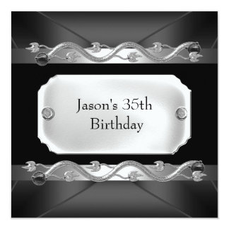 Metal Chrome Black Silver Mens 35th Birthday Card