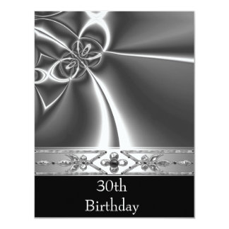 Metal Chrome Black White Style Silver 30th Card