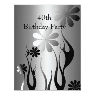 Metal Chrome Black White Style Silver 40th Floral Card