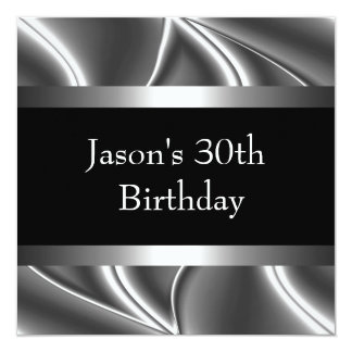 Metal Chrome Black White Style Silver Mens 30th 13 Cm X 13 Cm Square Invitation Card