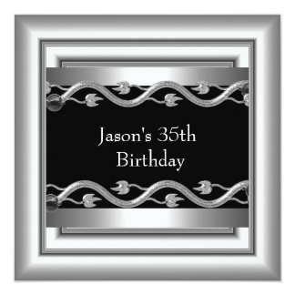 Metal Chrome Black White Style Silver Mens 35th 5 Card