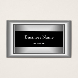 Metal Chrome Elegant Black & White Style Silver Business Card