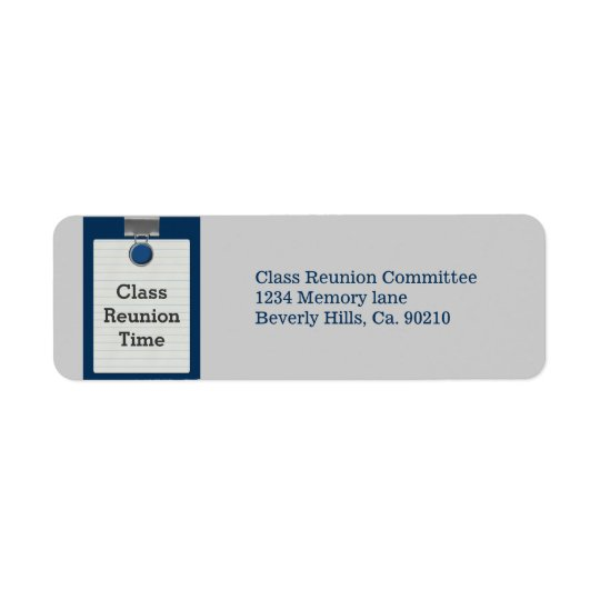 Metal Clip Notepaper Blue Class Reunion Return Address Label