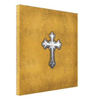 Metal Cross on Gold Leather Gallery Wrapped Canvas