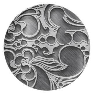 metal decorative textures dinner plates