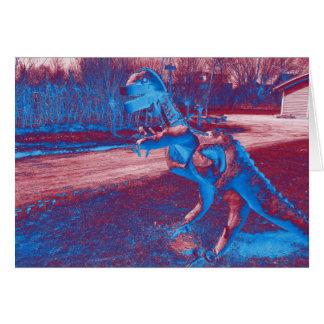 metal dinosaur trex in park card