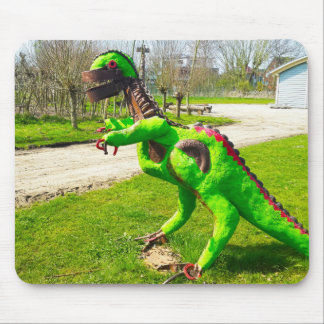 metal dinosaur trex in park photo mouse pad