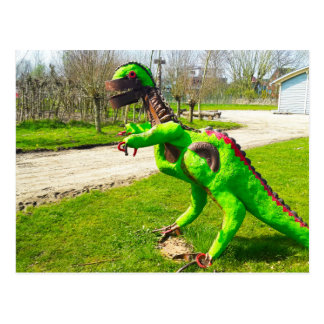 metal dinosaur trex in park photo postcard