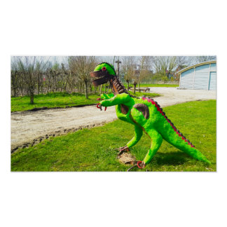 metal dinosaur trex in park photo poster