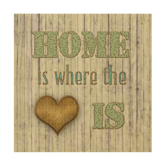 Metal Effect Font - Home is Where the Heart Is Wood Wall Art