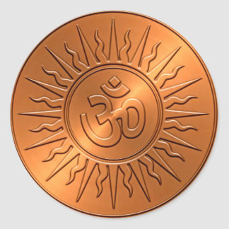 Metal Embossed Decorative Om Sign Classic Round Sticker