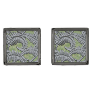 Metal Fern Cufflinks Gunmetal Finish Cufflinks