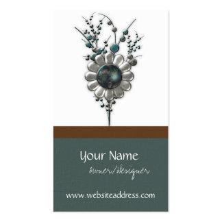Metal Garden Modern Floral Design 2 Business Cards