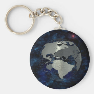 Metal Global Map Key Ring