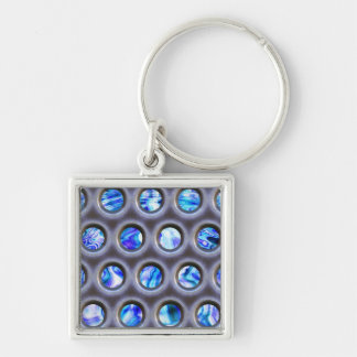 metal grate over a glowing blue plasma texture Silver-Colored square key ring