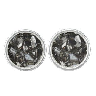 Metal Gray Shiny Quartz Crystals Cufflinks