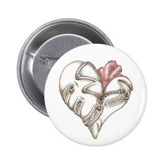 Metal heart 6 cm round badge