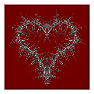 metal heart red poster