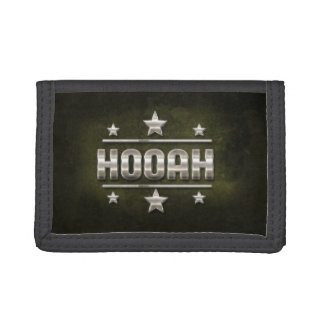 Metal Hooah Text Trifold Wallet